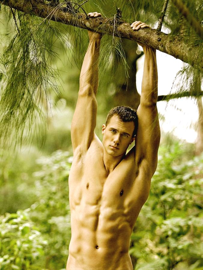 White and naked in jungle